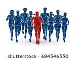 marathon runners  group of... | Shutterstock .eps vector #684546550