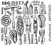 barbecue and grill food set ... | Shutterstock .eps vector #684553603