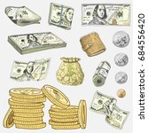 detailed currency banknotes or... | Shutterstock .eps vector #684556420