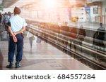 security guard in airport   Shutterstock . vector #684557284
