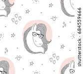 hand drawn pattern with cute... | Shutterstock .eps vector #684559666