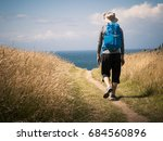 man walking on camino de... | Shutterstock . vector #684560896