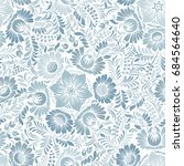 seamless background with floral ... | Shutterstock .eps vector #684564640
