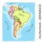 hand drawn vector map of south... | Shutterstock .eps vector #684568210
