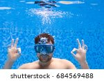 young man in diving mask...   Shutterstock . vector #684569488