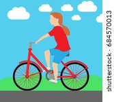 kid girl ride bike vector. | Shutterstock .eps vector #684570013