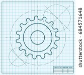 vector blueprint cogwheel icon... | Shutterstock .eps vector #684571648