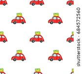 red car with a luggage on the... | Shutterstock .eps vector #684572560