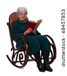 Old woman with a red book sitting in a rocker and looking to the camera, isolated against a white background. - stock photo