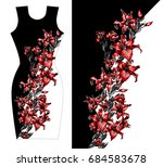 red lilies print design for... | Shutterstock .eps vector #684583678