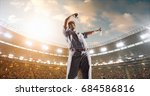 a male baseball player is happy ... | Shutterstock . vector #684586816