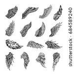 heraldic wings set for tattoo... | Shutterstock .eps vector #684589240