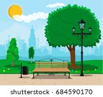 city park concept  wooden bench ... | Shutterstock .eps vector #684590170