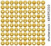 100 Yoga Icons Set Gold