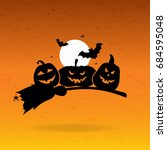 halloween background with... | Shutterstock .eps vector #684595048