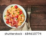 an overhead photo of a plate of ... | Shutterstock . vector #684610774