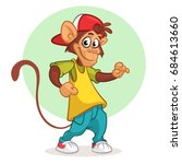 cool monkey dancing in modern... | Shutterstock .eps vector #684613660