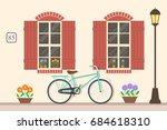 street building facade of the... | Shutterstock .eps vector #684618310
