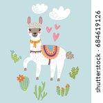 llama alpaca.vector illustration | Shutterstock .eps vector #684619126