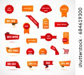 vector stickers  price tag ... | Shutterstock .eps vector #684619300