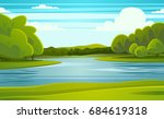 landscape with river vector... | Shutterstock .eps vector #684619318