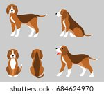 various poses of dog beagle ... | Shutterstock .eps vector #684624970