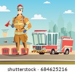 Firefighter And Fire Truck In...