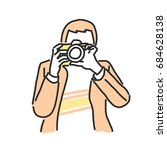 photographer in variety poses.... | Shutterstock .eps vector #684628138
