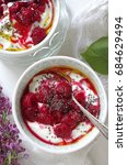 Small photo of junket with raspberries, chia seeds and flaxseed oil ( low car diet)