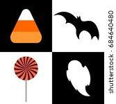 set halloween icons  candy  bat ...