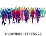 group of people on white  3d... | Shutterstock . vector #684640723