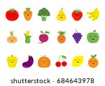 fruit berry vegetable face icon ... | Shutterstock . vector #684643978