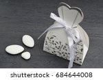 wedding dress shaped box with... | Shutterstock . vector #684644008