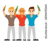 three best friends drink beer....   Shutterstock .eps vector #684645064