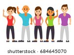 happy group of people in... | Shutterstock .eps vector #684645070