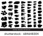 set of black paint  ink brush... | Shutterstock .eps vector #684648304