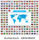 set of national flags with map... | Shutterstock .eps vector #684648604
