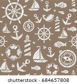 nautical background  seamless ... | Shutterstock .eps vector #684657808