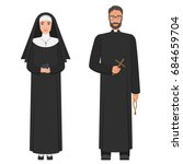 catholic priest and nun. flat... | Shutterstock . vector #684659704