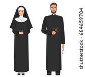 catholic priest and nun. flat... | Shutterstock . vector #684659704