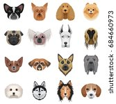 dog heads logo set. ... | Shutterstock . vector #684660973