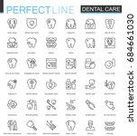 dental care thin line web icons ... | Shutterstock . vector #684661030