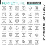3d modeling and printing thin... | Shutterstock . vector #684661510