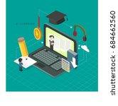 social media flat concept... | Shutterstock .eps vector #684662560
