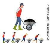 farmer with a wheelbarrow in... | Shutterstock .eps vector #684666010