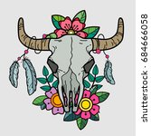 cow skull with flowers and... | Shutterstock .eps vector #684666058
