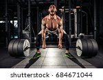 muscular men lifting deadlift... | Shutterstock . vector #684671044