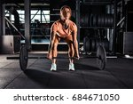 muscular young fitness woman... | Shutterstock . vector #684671050