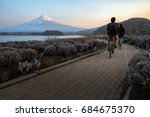 the tourist biking on bike... | Shutterstock . vector #684675370