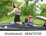 happy young lover couple... | Shutterstock . vector #684675730